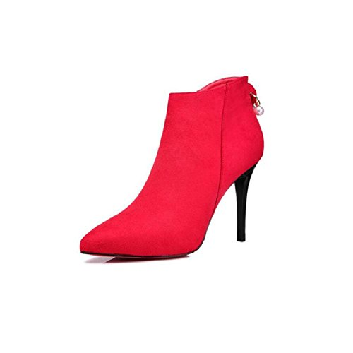 Woman's Stiletto Tip Wedding Short tube Martin Boots High heels Banquet Ankle boots Shoes RED-39 41agUkd