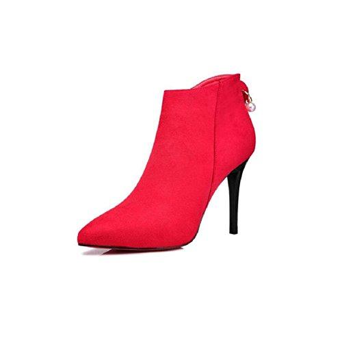 stivali corto Sposa punta stivali Tacchi scarpe RED di 35 spillo caviglia donna a 38 Martin banchetti tubo alti zwqCxA4USC