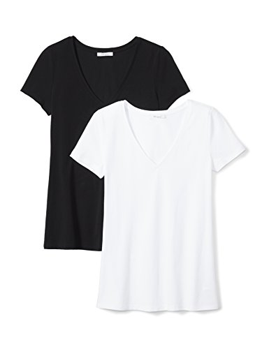 Daily Ritual Women's Stretch Supima Short-Sleeve V-Neck T-Shirt, 2-Pack, XL, Black/White (Womens Stretch V-neck Tee)