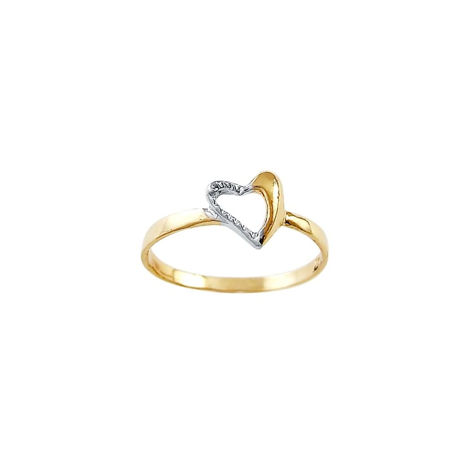 Right Hand Heart Ring 14k White Yellow Gold Fashion Band, Size 5