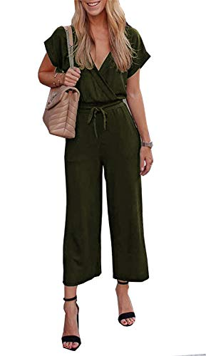 PRETTYGARDEN Women's Casual Short Sleeve Elastic Waist Jumpsuit Rompers Black (Army Green, Small)