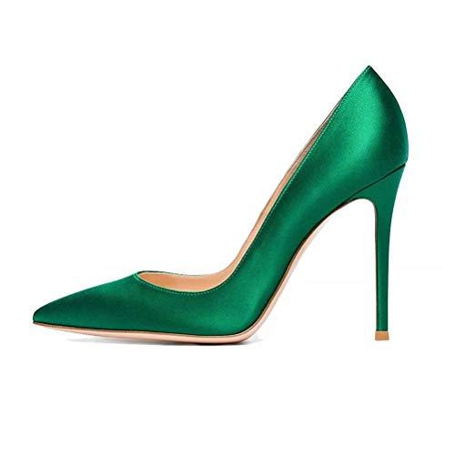 (Chris-T Womens Pointed Toe Stilettos High Heel Slip On D'Orsay Satin Dress Pumps)