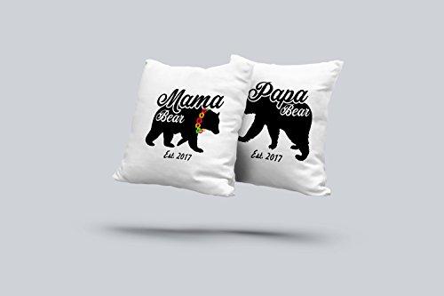 Papa Mama Bear Pillowcases, Set 2 of Pillowcases, Wedding Gift, Baby Shower Gift, Papa Bear Mama - Mall Las Vegas Dr