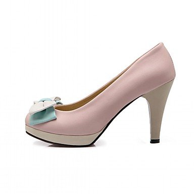 KYDJ @ Mujer-Tacón Stiletto-Confort Innovador-Tacones-Boda Oficina y Trabajo Vestido Informal Fiesta y Noche-Sintético PU-Azul Rosa Blanco Beige Pink