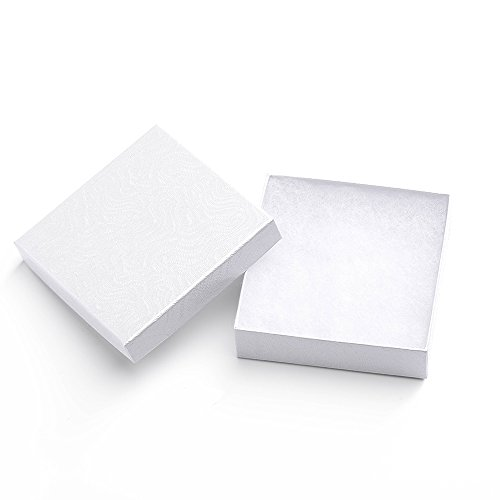 MESHA Cardboard Paper Box for Jewelry and Gift 3.5x3.5x1 Inch Thick White Swirl Paper Box With Cotton Lining, pack of (Painted Swirl Cabinet)