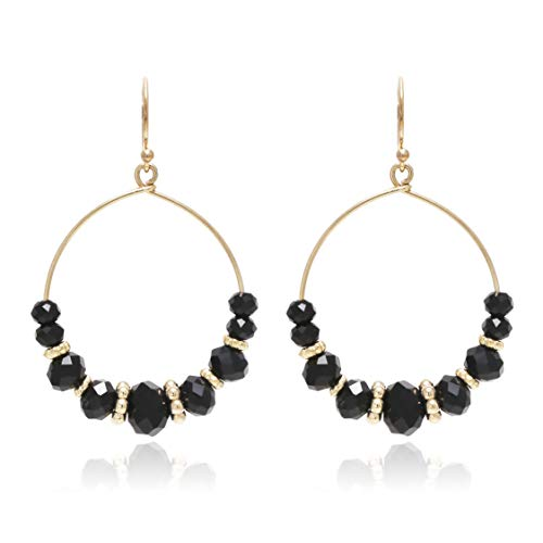 Boho Chic Multi Beads Round Hoop Dangle Drop Statement Earrings