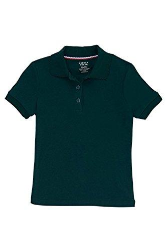 School Green - French Toast Little Girls Short Sleeve Picot Collar Interlock Polo, Hunter, Small/6/6x