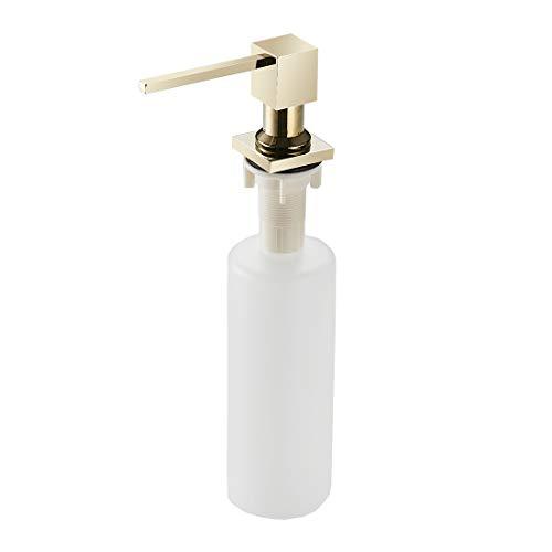 (WANFAN Kitchen Countertop Soap Dispenser Pump, Built In Sink Soap Dispenser With 14 OZ ABS Plastic Bottle Deck Mount Brass Gold 2306K)