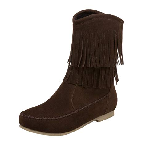 Aurorax-shoes Clearance Womens Mid Calf Bootie 5.5-9.5,Western Tassel Suede Flat Riding Boots-Comfortable (Brown, US:8.5)