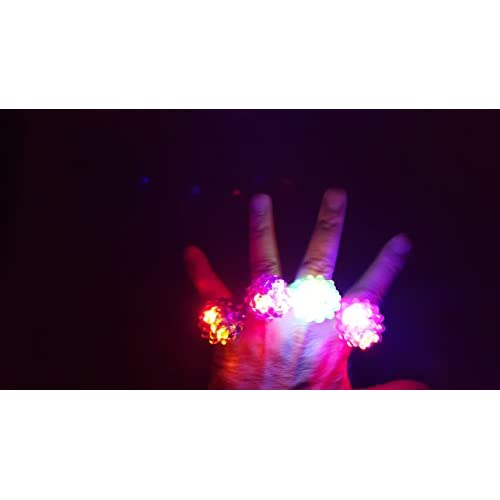 C/&H Solutions Novelty 72 ct Flashing LED Bumpy Rings Blinking Soft Jelly Glow by C/&H