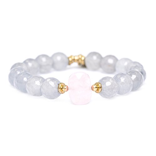 Light Gray Crystal (tom+alice Womens Natural Semi-Gemstone Stretch bracelets 10MM Beaded Elastic Bracelets with Pink Crystal(Light-Gray))