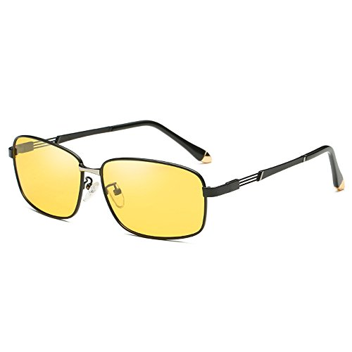 Shield Sunglasses Sunglasses Driving Use Sunglasses Frame Black SquareAnti B Night and Day Eyewear Travel Yellow Men Night Vision Polarized discolor Sunglasses night Discoloration Use Lens Avitor Eyeglasses Coolest Fashion UV 006zx