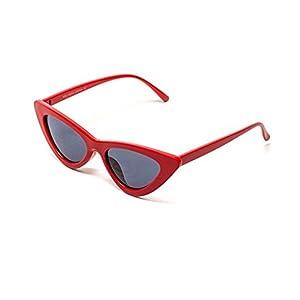 Clout Goggles Cat Eye Sunglasses Vintage Mod Style Retro Kurt Cobain Sunglasses (Red& smoke, 51)