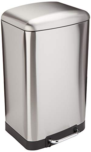 AmazonBasics Rectangle Soft-Close Trash Can with Steel Bar Pedal - 40L, Nickel