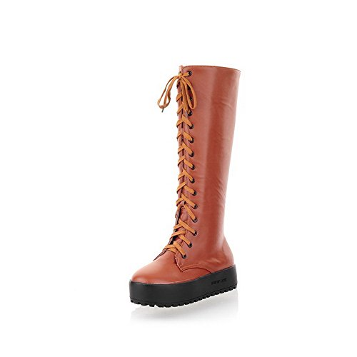 and Yellow Low B Solid 5 Zippers Womens M Round AmoonyFashion US Boots Closed Bandage Heels with Toe q6IvY7pw