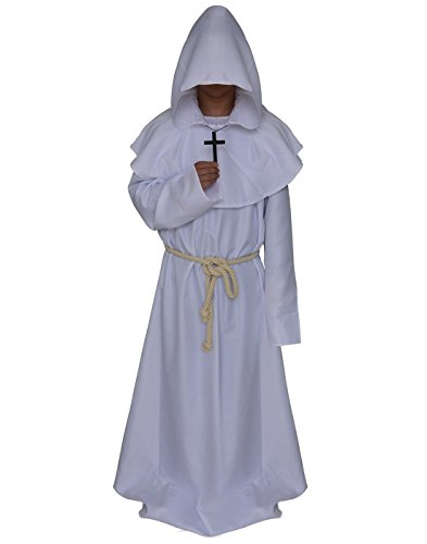 VERNASSA Medieval Monk Robe Priest Robe Halloween Cosplay Costume Cloak, Medium, White -