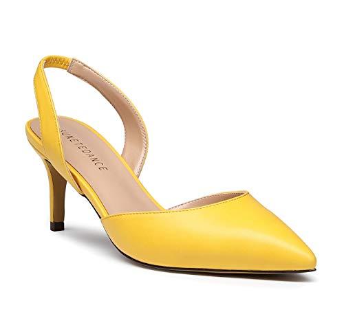 SUNETEDANCE Women's Slingback Pumps Pointed Toe Kitten Heels Slip On Stiletto Sandals Ankle Strap Shoes 6CM Heels Pu Yellow Pump 8 M US