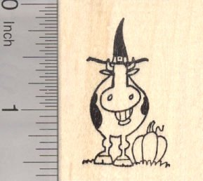 Halloween Witch Grinning Cow Rubber Stamp