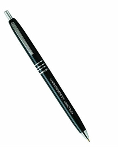 Skilcraft 7520-00-935-7136 U.S. Government Retractable Black Barrel Medium Point Ball Point Pen, Black Ink, (Pack of 12) ()