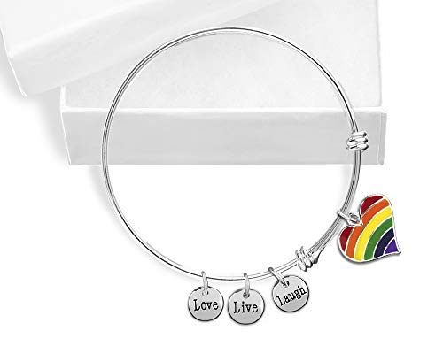 Gay Pride Rainbow Striped Heart Charm Retractable Bracelet in a Gift Box (1 Bracelet - Retail)