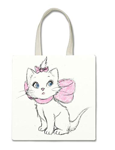 Aristocat Drawn Cute Disney Sketch Printed Design Halloween Trick Or Treat Polyester White Tote Bag 15x16x 3.5