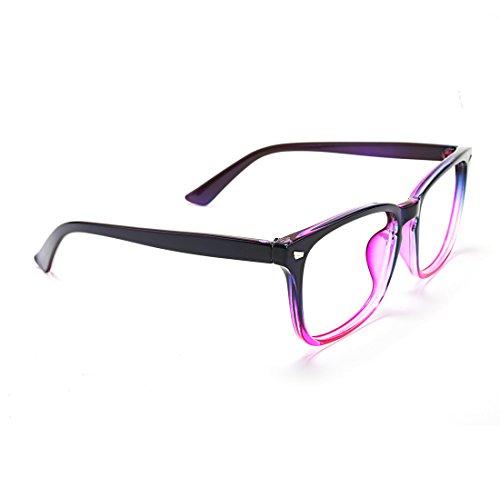 TIJN Womens Square Wayfarer Optical Glasses Frame Clear Lens EyeglassesPurple Gradient Pink