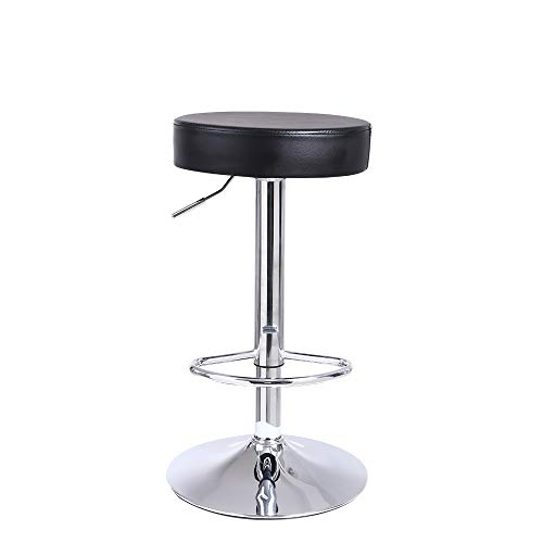 KKTONER Round Bar Stool PU Leather with Footrest Height Adjustable Swivel Pub Chair Home Kitchen Bar stools Backless Stool Black