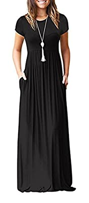 HAOMEILI Women's Short Sleeve Loose Plain Long Maxi Casual Dresses with Pockets