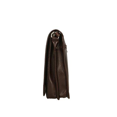Hombre 18x22x7 Marrón Hombro in Piel de Oscuro para Italy Made Shoulder Aren genuina Bolso de Cm Bag nYOqZ