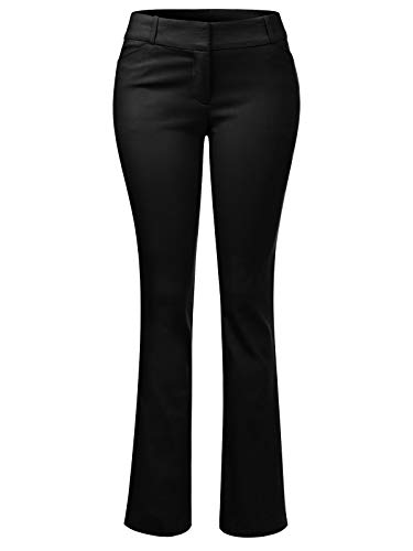 - Design by Olivia Women's High Waist Comfy Stretchy Bootcut Trouser Pants Black M