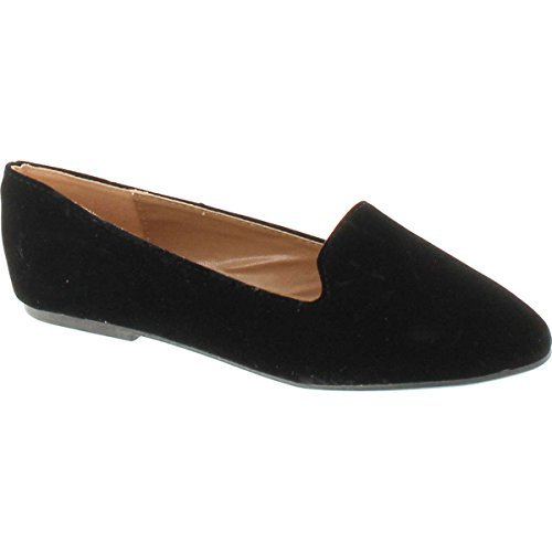 Forever Diana-81 Ballet Loafer-Flats, Black Suede, (Womens Black Suede Loafers Shoes)