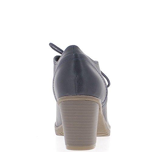 Richelieux bleus à gros talons de 7 cm et lacets