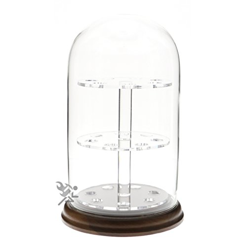 OnFireGuy 4 x 7 Glass Dome Display Cloche with Walnut Wood Base for Marbles and Spheres
