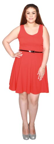 Libian Jr Plus Size Textured Scuba Knit Flared Skirt with Belt (1X, Orange)