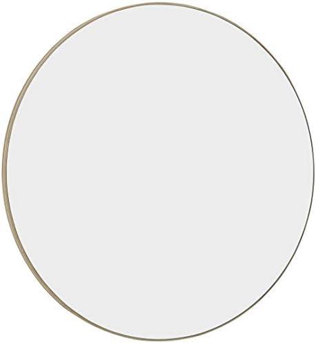 Hamilton Hills Contemporary Thin Natural Wood Edge Circular Wall Mirror Glass Panel Rounded Circle Design Vanity Mirror 24 Round
