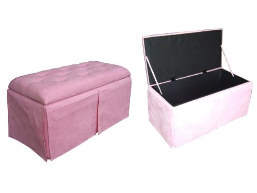 ORE International HB4249 Storage Bench with Two Ottomans, Pink