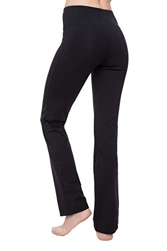 Cotton Straight Leg Shorts - NIRLON Yoga Pants (L, Black)