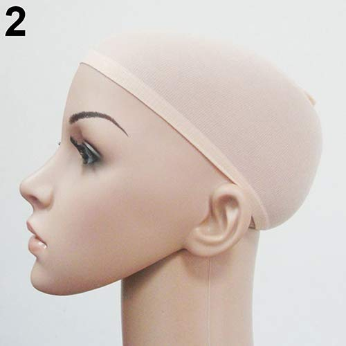 top0dream Synthetic for Wigs 2Pcs Unisex Elastic Breathable Stretch Hair Wig Stocking Liner Cap Cosplay Snood Synthetic Loose Curly Front Wig for Women Natural Heat Resistant Hair- Nude]()