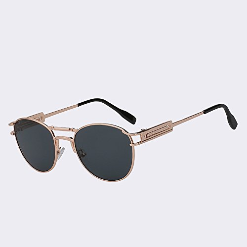 W TIANLIANG04 moda de de Steampunk sol de marrón dobles Gold w UV400 Oculos lente para alta del Gafas gafas metálicas de black Gafas hombres latón Vintage lens calidad vigas hombre rr1z5x