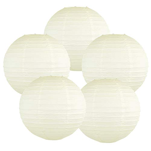 Just Artifacts 12-Inch Ivory Chinese Japanese Paper Lanterns (Set of 5, Ivory)]()