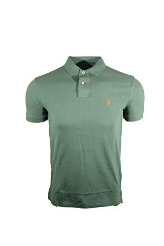 (Polo Ralph Lauren Men Custom Fit Mesh Pony Logo Shirt (Small, Green (Orange Pony)))