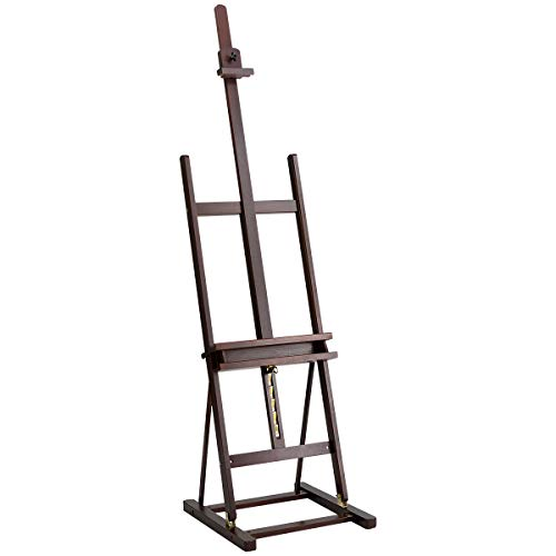 Marble Field Multi-Function H-Frame Artist Easel, Floor Easel, Adjustable Canvas Tray Height Beech, Brown]()