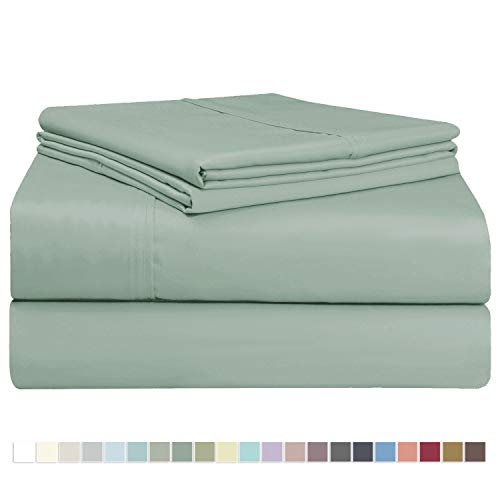 Pizuna 400 Thread Count Cotton Queen Size Sheets Set Sage, 100% Long Staple Cotton Sheets Set, Soft Sateen Best Cotton Bed Sheets Deep Pocket fit Upto 17