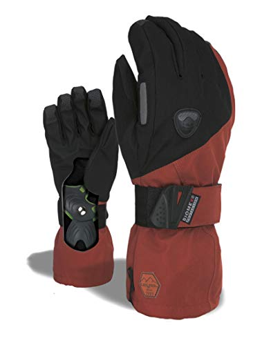 Level Snowboard Gloves Fly - LEVEL Fly Snowboard Gloves with Wrist Guards, Proven BioMex Design, Kevlar Palms, Removable Liner (Scottish Brown, Large (9.0in))