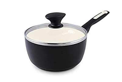 GreenPan Rio 2QT Ceramic Non-Stick Covered Saucepan, Black