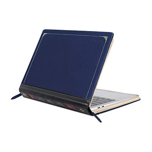 MOSISO Laptop Sleeve Compatible with 2020-2018 MacBook Air 13 A2337 M1 A2179 A1932/2020-2016 MacBook Pro 13 A2338 M1 A2251 A2289 A2159 A1989 A1706 A1708, PU Leather Vintage Book Folio Cover, Navy Blue