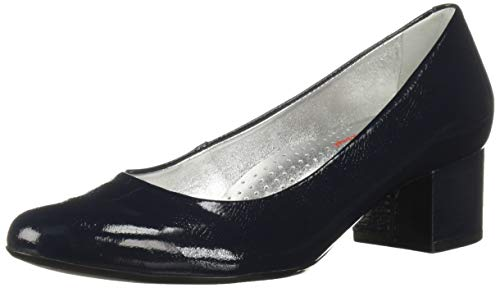 MARC JOSEPH NEW YORK Womens Leather Made in Brazil Classic Broad Street Pump, Navy Tumbled Patent, 10.5 B(M) US