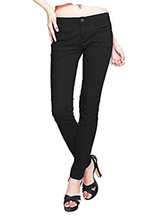 Women's Skinny Cotton Stretch Colored Legging Pants (Medium, Black)