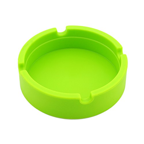 Homyl Ashtray,Silicone Modern Tabletop Cigarette Tobacco for Indoor or Outdoor Use, Desktop Ash Tray for Home office Decoration - Green