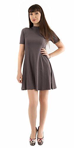 Mini Line Solid Neck A Dark Dress A Dress Mini Mock Short Color Sleeve Mocha Ribbed Line qYFtpwWax7